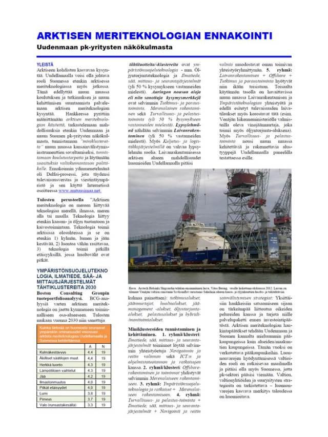 Arktisen meriteknologian yhteenveto-esite, RD Aluekehitys.