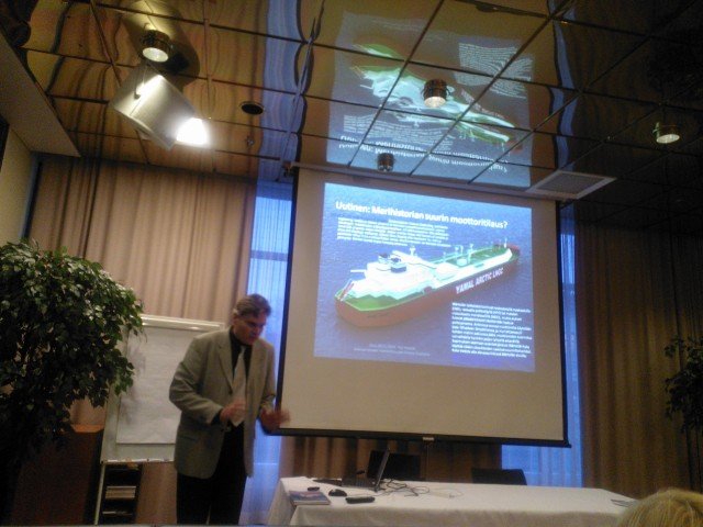 Doctor Yrjö Myllylä introducing Arctic Strong Prospective Trends and Finnish Arctic Maritime Clusters possibilities in Oulu 28.11.2014.  Orderer The Centre for Economic Development, Transport and the Environment for Pohjois-Pohjanmaa.